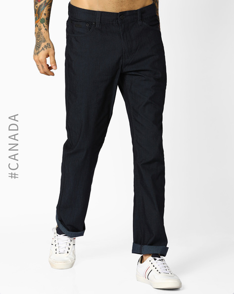 Mid-Rise Classic Fit Jeans By Point Zero ( Navy )