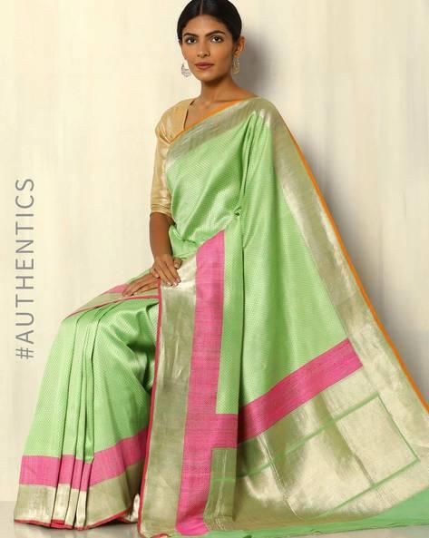 Banarasi Handloom Pure Silk Katan Jamdani Saree By Banarasi Style ( Green )