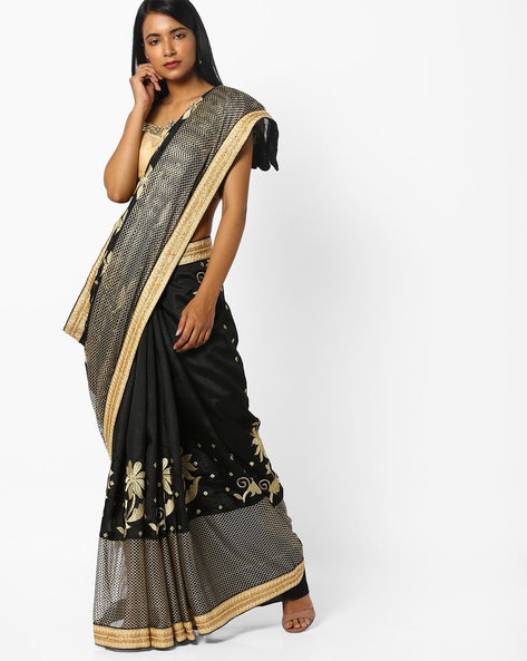 Embroidered Saree With Contrast Border By CHHABRA 555 ( Black )