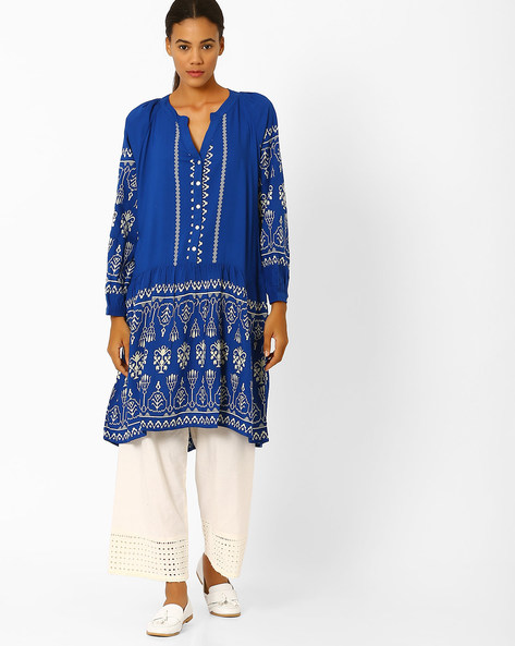 Printed High-Low Tunic By Global Desi ( Blue )