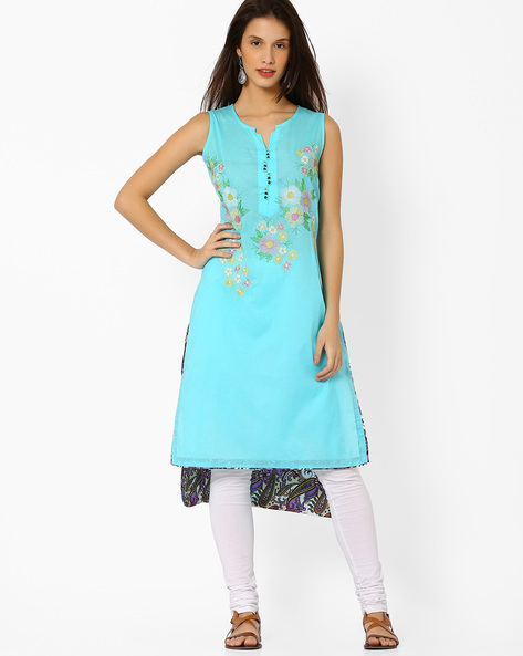 High-Low Kurta With Floral Embroidery By Shakumbhari ( Blue )