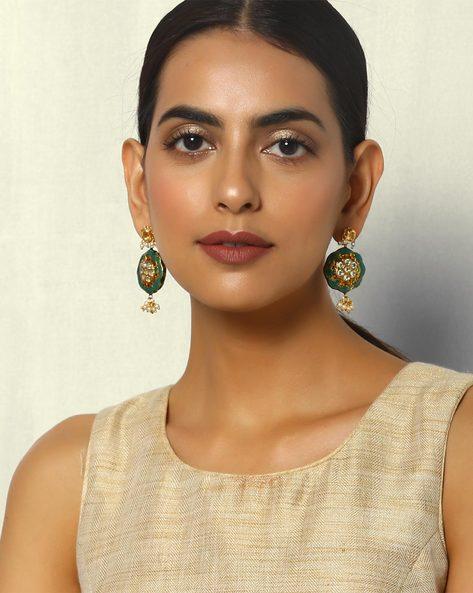 Kundan Enamel Brass Earrings With Pearl Drops By Courtyard ( Green )
