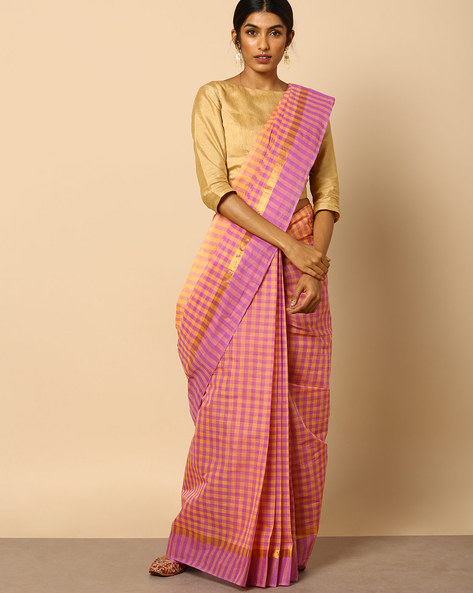 South Cotton Checked Saree With Zari Border By Indie Picks ( Multi )