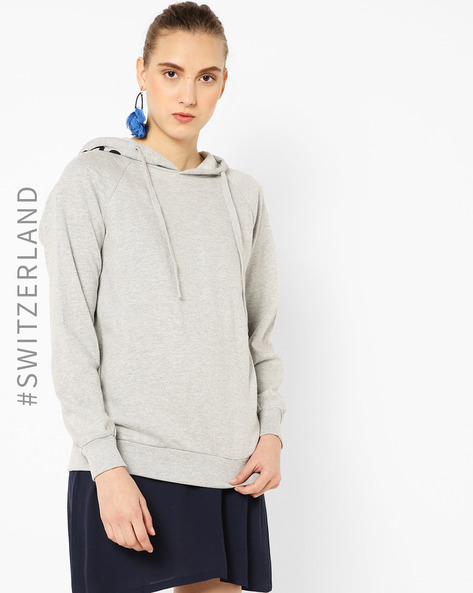 Typographic Print Hooded Sweatshirt By TALLY WEiJL ( Grey )