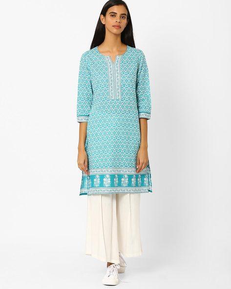 Printed Straight Kurta By Rangmanch By Pantaloons ( Turquoise )