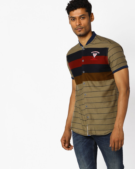 Printed Slim Shirt With Band Collar By The Indian Garage Co ( Khaki )