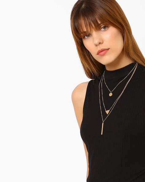 Multistrand Metal Necklace By Ayesha ( Gold ) - 460080353001