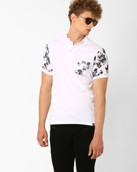 Mandarin Collar T-shirt With Printed Accents By Garcon ( White )