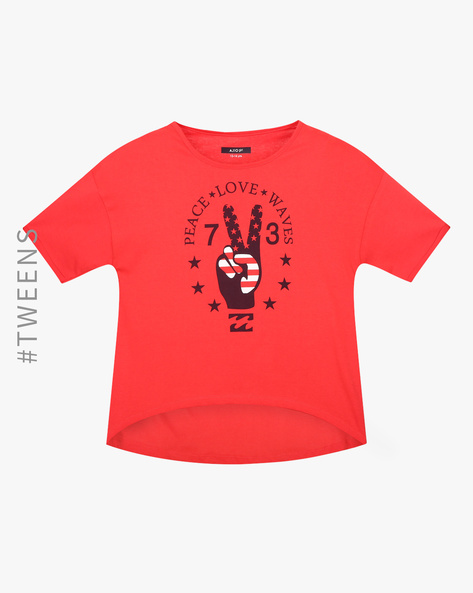 Graphic Print High-Low T-shirt By AJIO Girl ( Red )