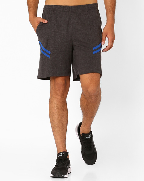 Panelled Comfort Fit Shorts With Contrast Overlay By PROLINE ( Charcoal )