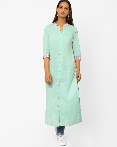 Straight Kurta With Contrast Taping By AJIO ( Mint )