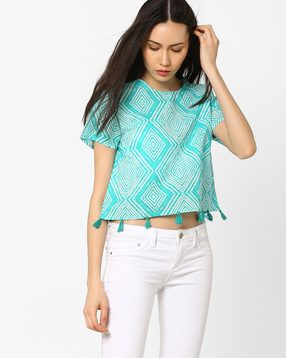 Printed-Boxy-Crop-Top