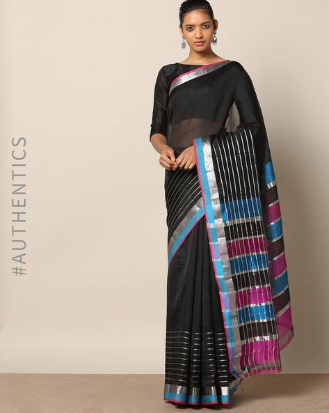 Handloom Mangalgiri Zari Stripe Cotton Silk Saree By Indie Picks ( Black )