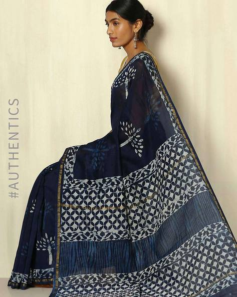 Handblock Print Indigo Chanderi Saree With Zari Border By Indie Picks ( Indigo ) - 460053737001