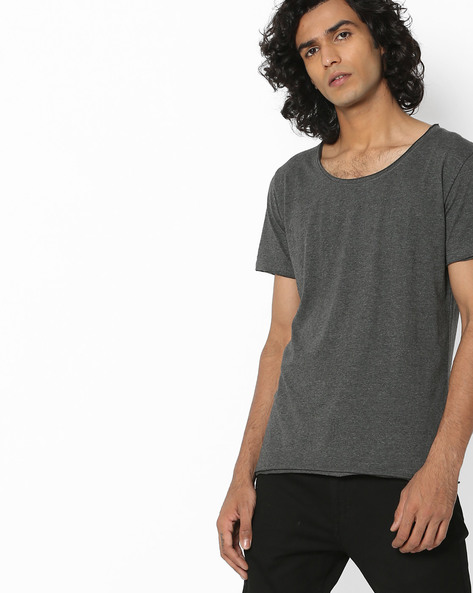 Scoop-Neck Slim-Fit T-Shirt By Blue Saint ( Darkgrey )