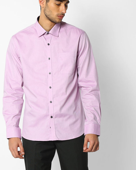 Regular Fit Shirt With Patch Pocket By NETWORK ( Ltpurple )