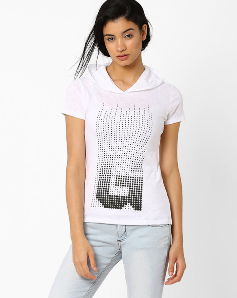 Graphic Print T-shirt With Hood By TEAM SPIRIT ( White )