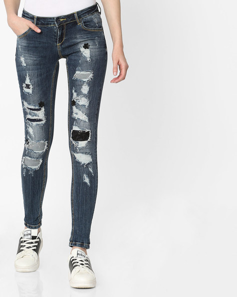 Distressed Skinny Jeans By Deal Jeans ( Blue )