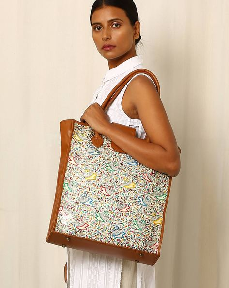 Handpainted Madhubani Leather Tote Bag By Moya ( Multi )