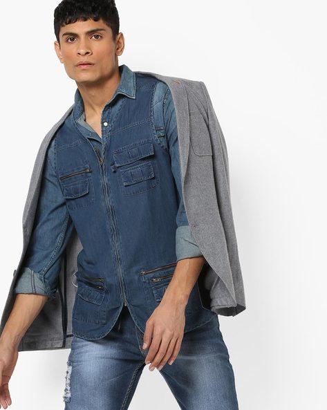Zip-Front Sleeveless Denim Jacket By AJIO ( Darkblue )