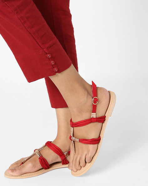 Embellished Flat Sandals By AJIO ( Pink )
