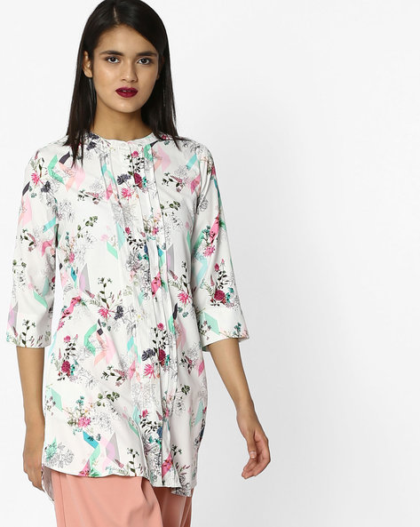 Floral Print Tunic With Tucks By Project Eve WW Casual ( Offwhite )