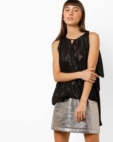 Shimmery High-Low Top With Cutout By Project Eve WW Evening ( Black )