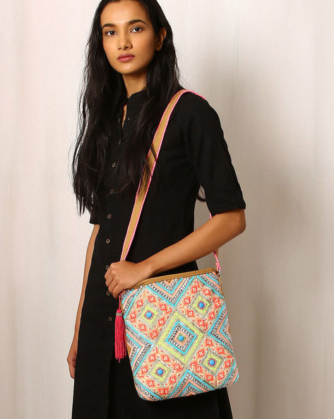 Embellished Canvas Sling Bag By Indie Picks ( Multi )