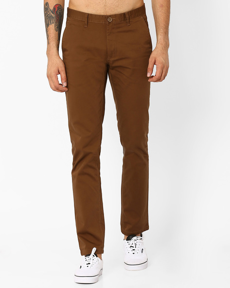 Slim Fit Cotton Chinos By JOHN PLAYERS ( Brown )