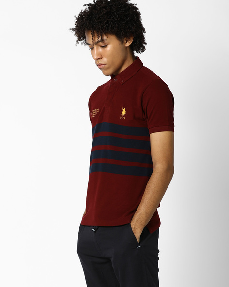 Button-Down Polo T-shirt With Signature Branding By US POLO ( Multi )