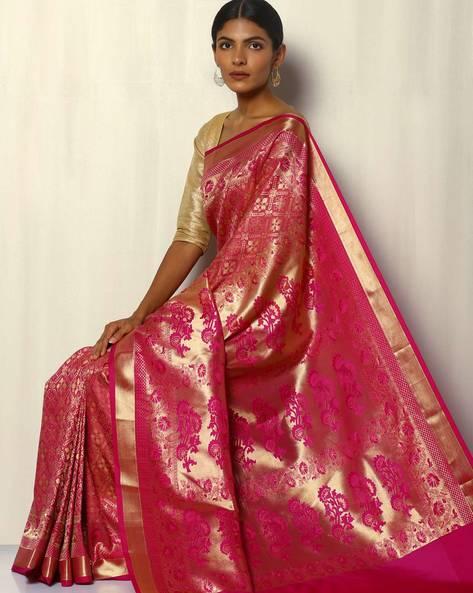 Patola Style Brocade South Silk Saree By Pretty Woman ( Pink )