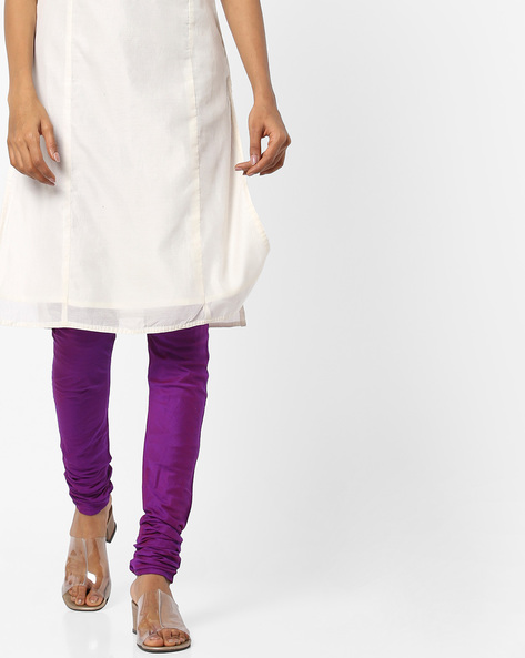 Churidar With Drawstring Fastening By Melange By Lifestyle ( Purple )