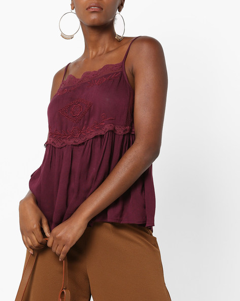 Embroidered Strappy Top With Lace Trims By Rena Love ( Wine )