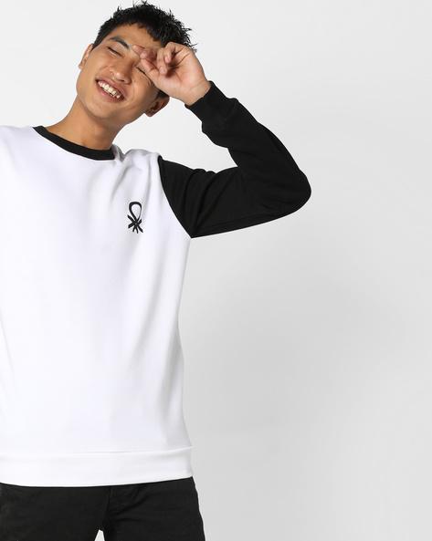 Colourblock Crew-Neck Sweatshirt By UNITED COLORS OF BENETTON ( White )