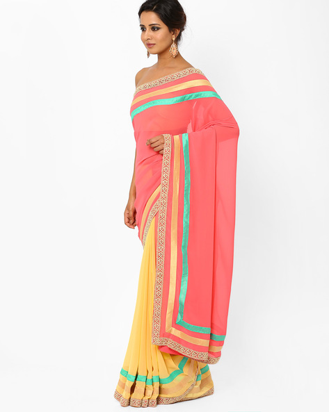 Half & Half Georgette Saree With Crochet Border By AJIO ( Peach )