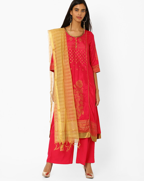 Printed Kurta With Palazzo Pants And Dupatta By AURELIA ( Pink )