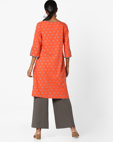 Printed Tunic With Slit Sleeve Hems By AJIO ( Coral )