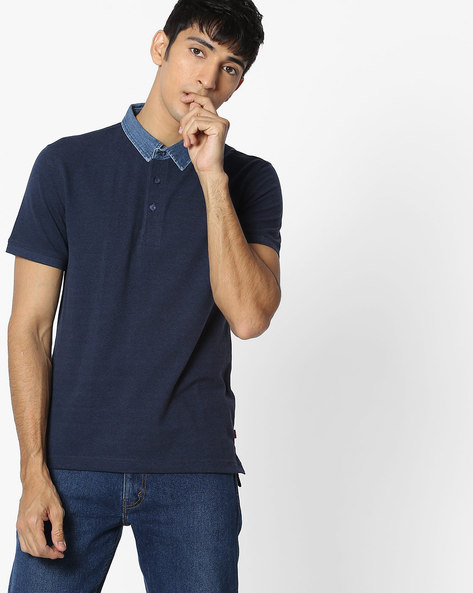 Polo T-shirt With Contrast Collar By LEVIS ( Blue )