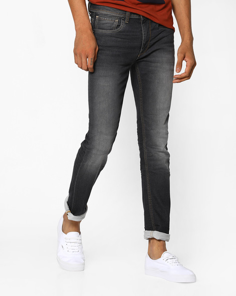 Mid-Washed Skinny Jeans By VOI JEANS ( Black )