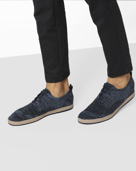 Lace-Up Shoes With Patterned-Knit Upper By AERO BLUEZ ( Blue )