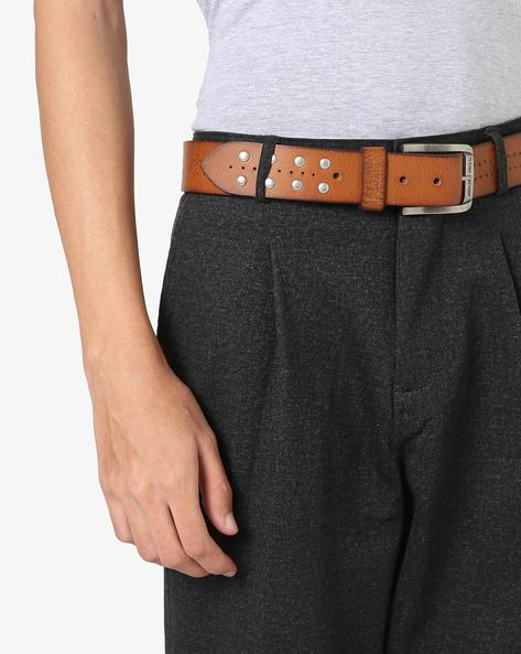 Leather Belt With Perforated Detail By FLYING MACHINE ( Brown )