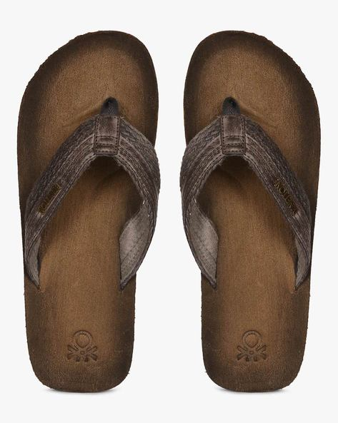 Flip-Flops With Suede Finish By UNITED COLORS OF BENETTON ( Grey )