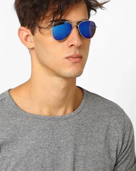 Mirrored Aviator Sunglasses By ALPHA MAN ( Blue )