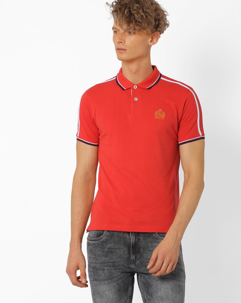 Polo T-shirt With Contrast Taping By TEAM SPIRIT ( Orange )