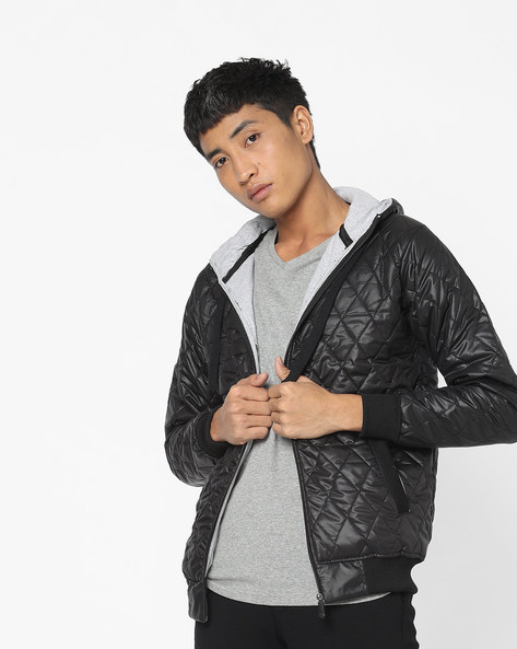 Hooded Quilted Jacket By Campus Sutra ( Black )