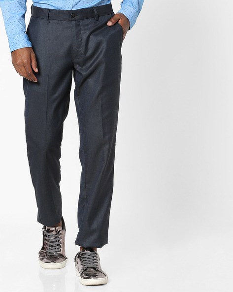 Slim Fit Flat-Front Formal Trousers By NETWORK ( Navy )