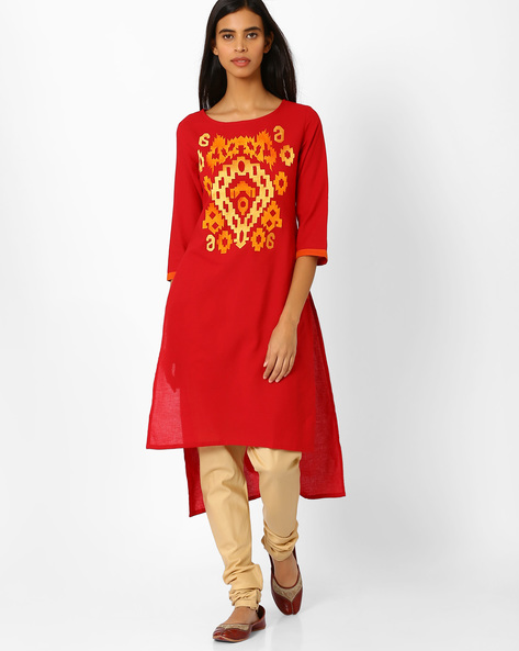 Embroidered Straight Kurti With High-Low Hemline By Kifahari ( Red )