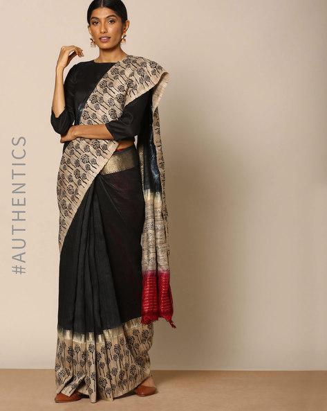 Pure Silk Brush Printed Designer Saree By Rudrakaashe-MSU ( Black )