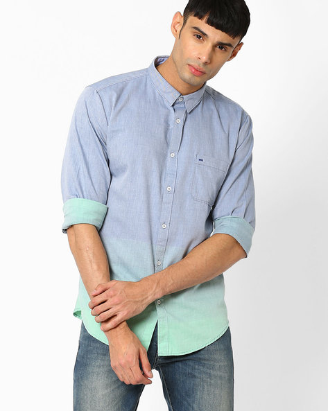Slim Fit Weft Striped Shirt By BASICS ( Green )