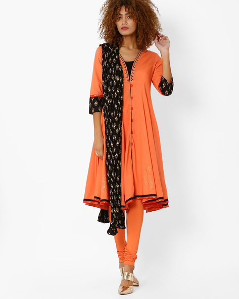 Anarkali Churidar Kurta With Dupatta By AJIO ( Coral )